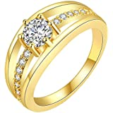Single Stone Sparkling Layer 18K Gold Plated Cubic Zircon Designer Ring for Women by YELLOW CHIMES …