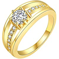 YELLOW CHIMES Single Stone Sparkling Layer 18K Gold Plated Cubic Zircon Designer Ring for Women