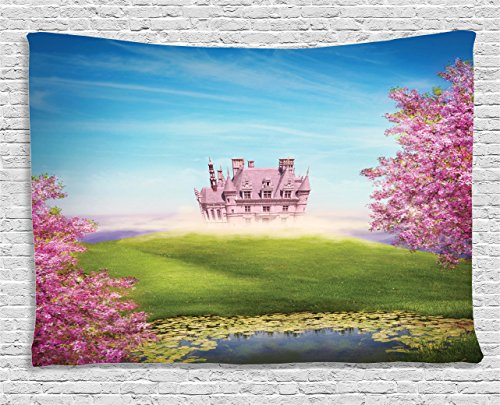 Romance Bedroom (Teen Girls Decor Tapestry by Ambesonne, Fairy Tale Landscape With Castle Cheery Blooms Greenland Nature Romance, Wall Hanging for Bedroom Living Room Dorm, 60 W X 40 L Inches, Blue Pink and Green)