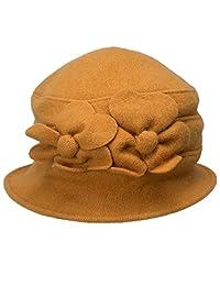 Lawliet Solid Color Retro Womens 100% Wool Flower Dress Cloche Bucket Cap Hat A218