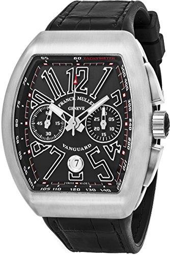 Franck Muller Vanguard Mens Automatic Date Chronograph Black Titanium Face Black Rubber Strap Watch V 45 CC DT TT BR.NR.NR