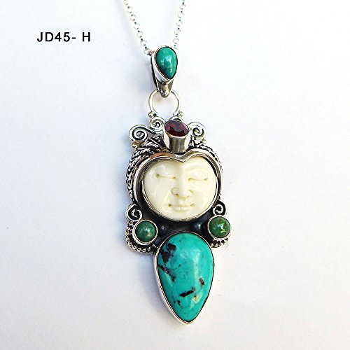 Amethyst Goddess Pendant - Gemstone Bali Goddess Face Sterling Silver Cameo Pendant Necklace JD45-H