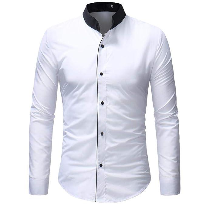 Camisa De Manga Larga para Hombre ZARLLE Moda Camisa del Negocio Estilo Business Delgada del Ajuste