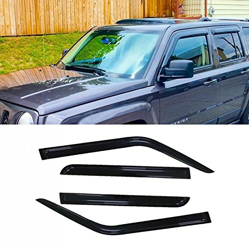 VioletLisa 4pcs For 07-18 Jeep Patriot Dark Smoke Out-Channel/Outside Mount Style Wind Sun Rain Guard Vent Shade Deflector Window Visors