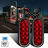 WINUNITE Oval Red LED Trailer Lights 6 Inch(DOT Certified)- 10 LED Stop/Turn/Tail LED Lights for RV, Trucks and Trailers with Grommet and Plug(Pack of 2)