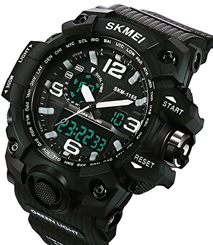 Carrie Hughes Men's Digital Watch 50M Waterproof Large Dual Dial Multifunction Analog Military Outdoor Sports Electronic Watch Calendar Day Date (White)