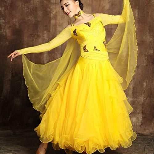 Danza Wqwlf Yellow Grande Ballo Moderna Swing Tango Performance Concorrenza Flamenco Valzer Abiti Da Costumi Per Donne Vestire xl Le Xl Gonna 41nq4Hzr