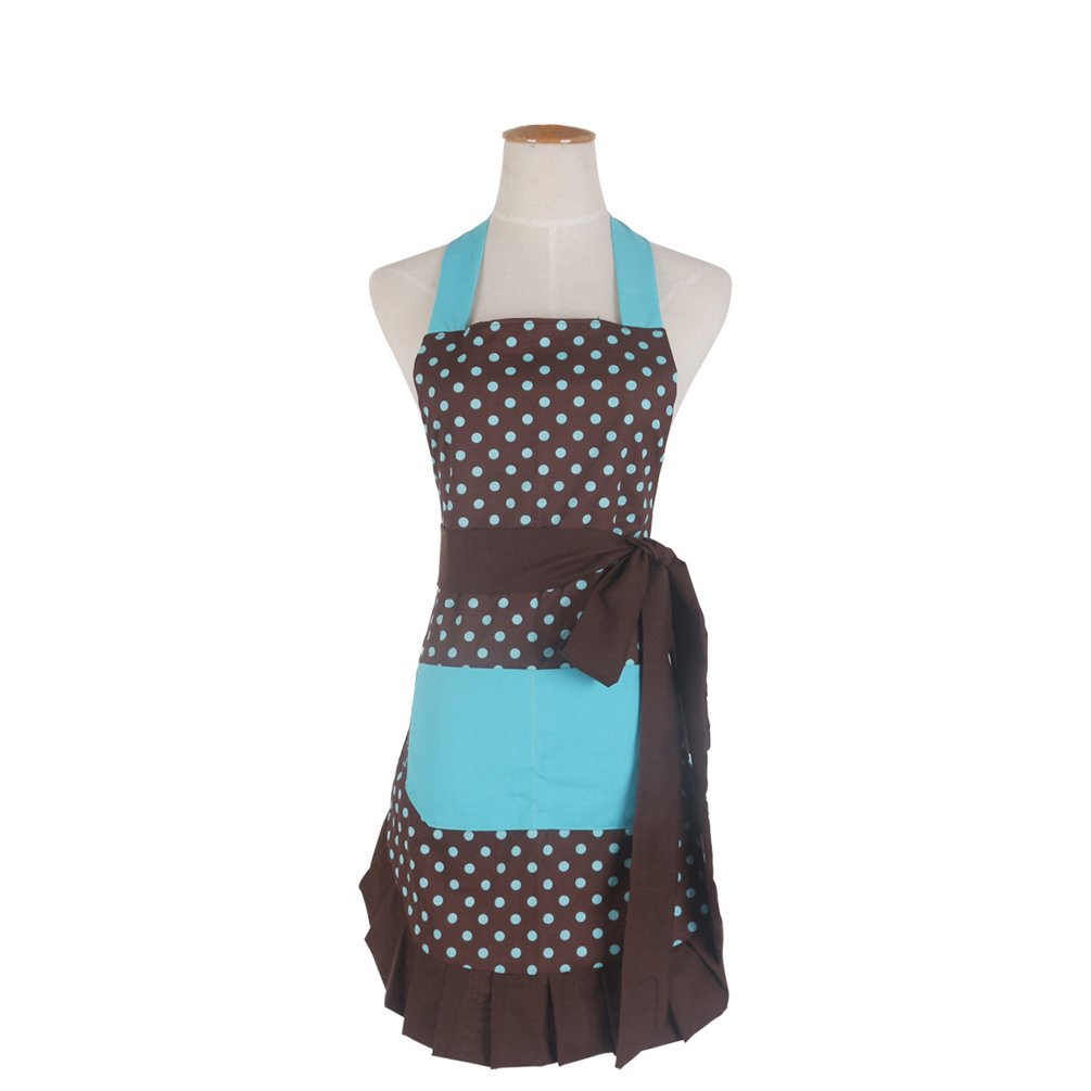 Cotton Fabric Women's Apron with 2 Pockets-Extra Long Ties, Home Baking or Kitchen Cooking, Graceful and Flirty, Coffee Style-2-Leeotia
