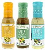 Primal Kitchen - Ranch Dressing, Greek and Honey Mustard Vinaigrettes/Marinades Salad Dressings Variety 3-Pack, Made with Avocado Oil & Organic Ingredients - Vegan & Paleo Approved (8 oz)