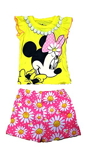 Disney Minnie Mouse Baby Girls T Shirt and Floral Print Shorts Outfit - Yellow Pink
