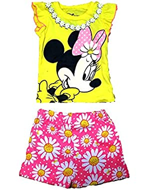 Minnie Mouse Baby Girls T Shirt and Floral Print Shorts Outfit - Yellow Pink