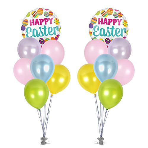 11' Latex Wedding Balloons - Spring Happy Easter Balloon Bouquet ft. Bright Pastel Metallic Color Pink Blue Green Yellow Purple Latex Balloons 12