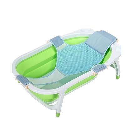 Bebé bañera asiento soporte bañera, recién nacido bebé ducha red malla bañera, caja fuerte y cuna ajustable con malla para bebé baño cuna ...