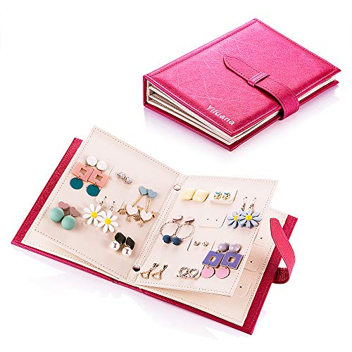 Yiluana Organizer, Portable Travel Jewelry Case Pu Leather Earring Holder with Book Design (Fuchsia), Medium, (Post Earring Holder)