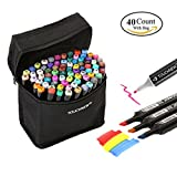 Togood 40 Art Sketch Twin Marker Pens,Dual Tips Broad Fine, Professional Marker Set for Coloring Painting Manga Design Kids and Adult
