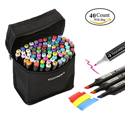Togood 40 Different Colors Art Sketch Twin Marker Pens,Dual Tips Broad Fine, Professional Marker Set for Coloring Painting Manga Design Kids and Adult (White Twin Black 1 1)