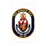 CafePress - USS Bunker Hill CG 52 Rectangle Sticker - Rectangle Bumper Sticker Car Decal