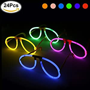 KYC Glowsticks 24 Lights-Up Goggles at Night Glow Sticks Eyeglasses Glow Glasses- 6 Color Mix Assorted Play in Party Supplies with individual Package