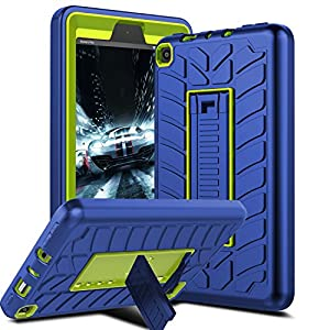 Venoro Case for All-New Amazon Fire 7 Tablet, Shockproof Armor Defender Protective Case Cover with Kickstand for Amazon Kindle Fire 7 (7th Generation - 2017 Release Only) (Navy Blue/Lemon Yellow - A)