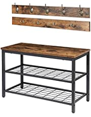 2 Coat Racks with Sitting Bench and Shoe Storage for Entrance, Hallway and Mudroom