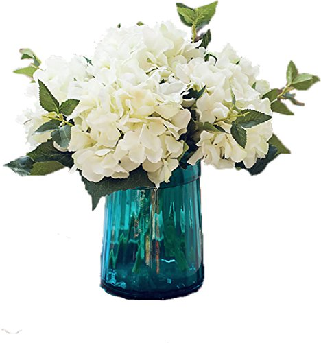 (Anlise Artificial Hydrangea Flowers Fake California Hydrangea Silk Bouquet Flower for Home Wedding Decor, Pack of 4 (Cream) )