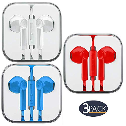 Ultimate-Audio 3-PACK Premium Earphones/Earbuds/Headphones with Stereo Mic&Remote Control Compatible with iPhone iPad iPod Samsung Galaxy & Android Smartphones, PC 3.5 mm Audio Jack - White, Red, Mint