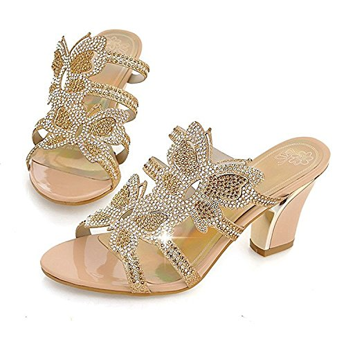 Sanksk Women Rhinestone Leather Sandals Gold Open Toe Butterfly Cut-Out Slippers Thick High Heel Evening Party Shoes Charming