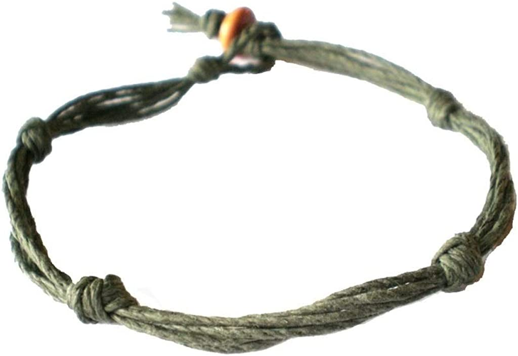 Army Green Love Knot Not Barb Wire Hemp Anklet - Handmade