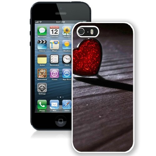 Coque,Fashion Coque iphone 5S Glass Red Heart Wood Floor Valentines Day blanc Screen Cover Case Cover Fashion and Hot Sale Design