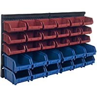 Stalwart 75-92226 30-Bin Wall Mounted Parts Rack (Blue/Red)