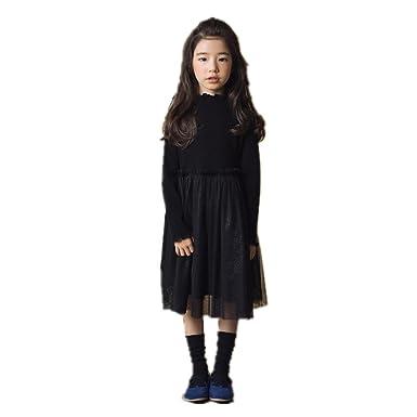 37b32b6716bad AIKEE 女の子 黒 ワンピース ガールズ 春 長袖 ドッキングワンピース キッズ オシャレ フォーマル チュール ドレス 結婚式
