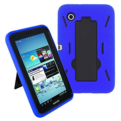 Galaxy Tab 2 7 Case KIQ (TM) Heavy Duty Hybrid Silicone Skin Hard Plastic Case Cover Kick Stand for Samsung Galaxy Tab 2 7.0 P3100 - Black/Blue