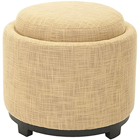Safavieh Hudson Collection Bowery Gold Tray Ottoman, Round (Round Tray For Ottoman)