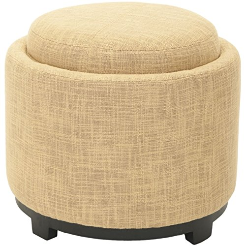 Safavieh Hudson Collection Bowery Gold Tray Ottoman, Round
