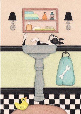 Boston terrier fills sink at bath time / Lynch signed folk art print
