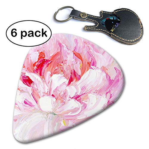 Ivanfield Pink and White Peony 351 Shape Classic Celluloid Picks 6-Pack