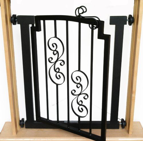 Noblesse Dog Gate - 32'' Tall - Expandable to 40 Inch - Black, Indoor Pet Barrier, Walk Through Swinging Door, Extra Wide. Pressure Mounted, Walls, Stairs, Small/Large Dogs, Metal, Best Dog Gate by NMN Products (Image #2)