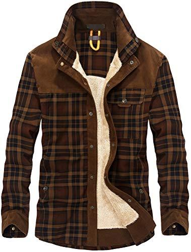 Lavnis Men's Cotton Shirt Jacket Button Down Shirts Casual Corduroy Thicken Fleece Shirt Coat Coffee S