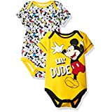 Disney Boys' Mickey Mouse 2 Pack Bodysuit, Yellow, 6/9M