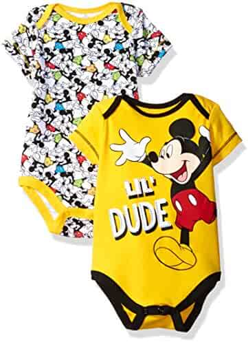 Disney Boys' Mickey Mouse 2 Pack Bodysuit