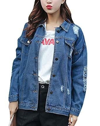 Jacket Denim Mujer ShiFan De Chaquetas Manga Mezclilla Larga Rasgada 08mNwn