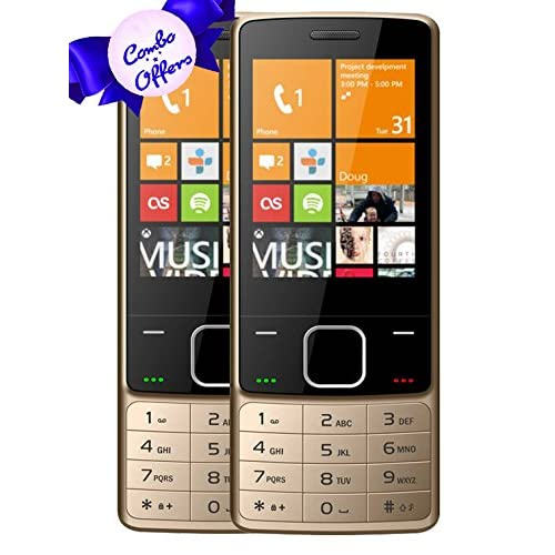 IKALL K6300 Basic Feature Phone (Gold, 64MB) - Pack of 2