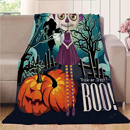 Throw Blanket Super soft and Cozy Fleece Blanket Perfect for Couch Sofa or bed,Halloween,Cartoon Girl with Sugar Skull Makeup Retro Seasonal Artwork Swirled Trees Boo Decorative,Multicolor,47.25