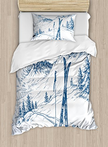 Ambesonne Winter Duvet Cover Set Twin Size, Sketchy Graphic of a Downhill with Ski Elements in Snow Relax Calm View, Decorative 2 Piece Bedding Set with 1 Pillow Sham, Blue White
