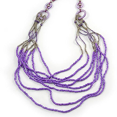 Avalaya Long Multistrand Stone, Glass Bead, Sea Shell with Suede Cord Necklace (Purple, Grey, Metallic) - 110cm L/120cm L- Adjustable