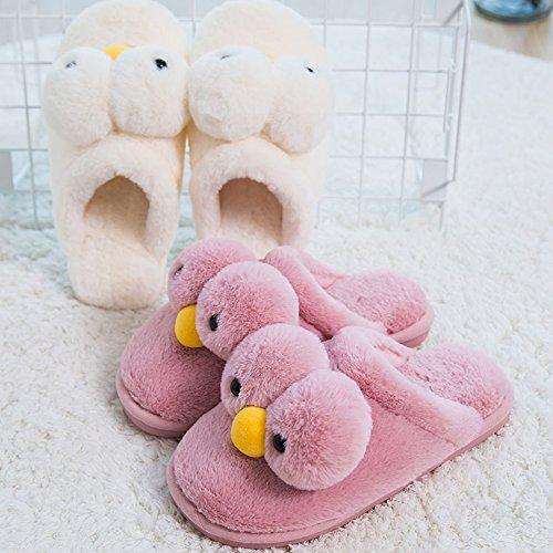Eastlion Damen Winter Home Innenbereich Warm Halten Draussen Lovely Gelbe Ente Plüsch Hausschuhe Schuhe Beige
