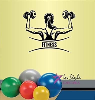 Wall Vinyl Decal Home Decor Art Sticker Fitness Sign Girl Workout with Dumbbells Gym Sport Room Removable Stylish Mural Unique Design