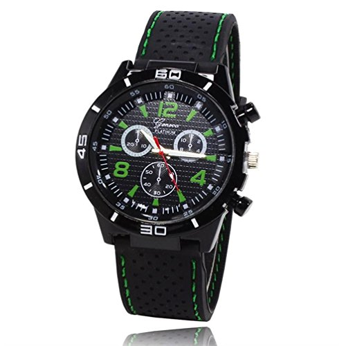 GOTD Men's Military Watches Sport Wristwatch Silicone Fashion Hours Quartz Watch (Green - Wellington Green Hours