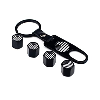 EIMGO American Flag Valve Stem Cap and Keychain Combo - Black Subdued USA Aluminum with Rubber Ring Tire Wheel Rim Dust Cover fits Cars, Trucks, Bikes, Motorcycles, Bicycles (4 Pack+1) (Black): Automotive