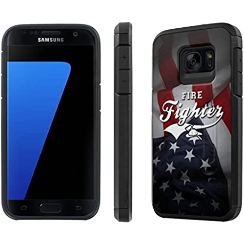 Galaxy [S7] [5.1 Screen] Defender Hybrid Case [SlickCandy] [Black/Black] Dual Layer Protection [Kick Stand] [Shock Proof] Phone Case - [Fire Fighter Flag] for Sales
